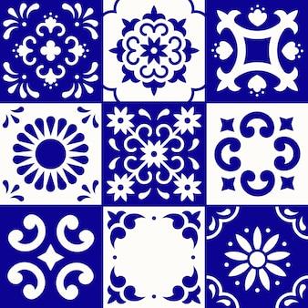 Мексиканская картина талавера. керамическая плитка в традиционном стиле из пуэбла. мексика цветочные мозаика в синий и белый. народное искусство .