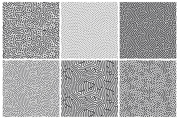 丸みを帯びたライン、しずくと有機のシームレスパターンのセットです。拡散反応の背景。生物学的形状の線形設計。自然細胞、迷路、サンゴの構造。抽象的なイラスト。