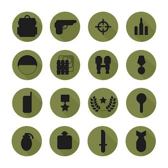 Военная пиктограмма силуэта и набор иконок войны