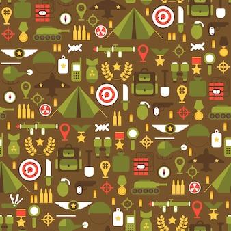 Бесшовные шаблон плоской военной и военной набор иконок