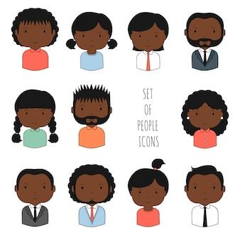 カラフルなアフリカ系アメリカ人のアイコンのセット
