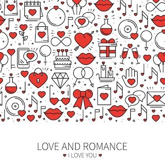 愛のラインパターンのコンセプト。聖バレンタインデー。愛、ロマンチック、結婚式、関係。