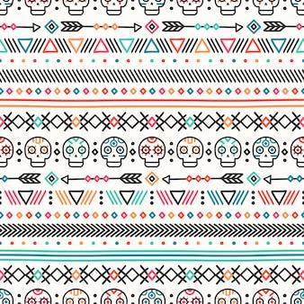 部族手描きラインメキシコ民族シームレスパターン。