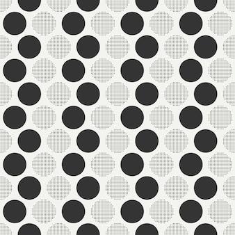 レトロなメンフィスのシームレスパターン。抽象的な寄せ集めの質感。円、丸、ドット