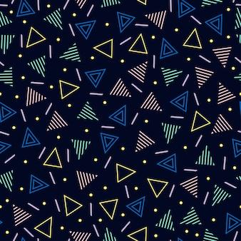 メンフィスのシームレスパターン。抽象的な寄せ集めの質感。三角形。