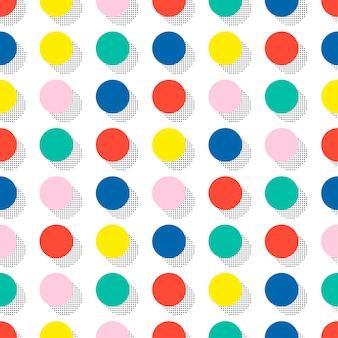 メンフィスのシームレスパターン。抽象的な寄せ集めの質感。円、丸、ドット