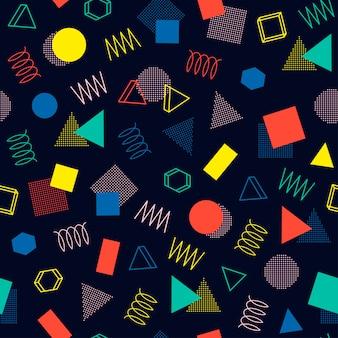 メンフィスの幾何学的なシームレスパターン。抽象的な寄せ集めの質感。三角形。
