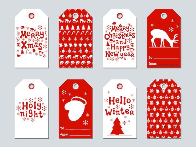 Рождественские и новогодние подарочные бирки