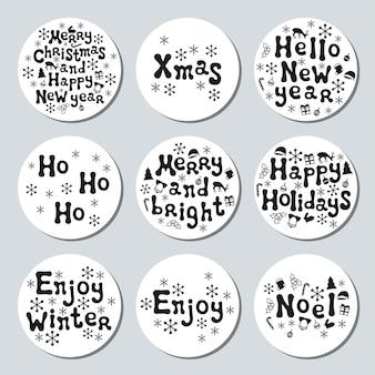 クリスマス新年の贈り物ラウンドステッカー