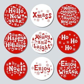Рождественские новогодние подарки круглые наклейки