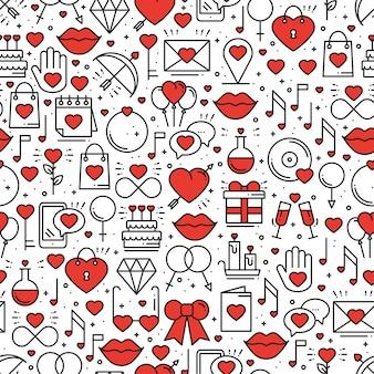 愛のシンボルとのシームレスなパターン。