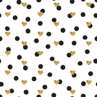 ゴールドのハートとのシームレスなインクの水玉模様
