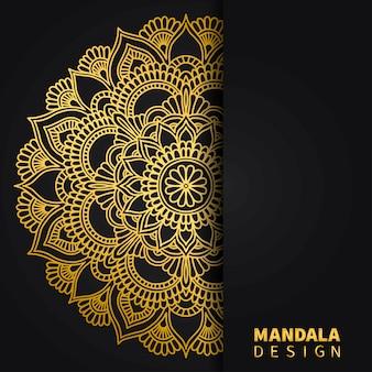 ゴールデンマンダラデザインの背景。民族の丸い飾り。手描きインドのモチーフ。ユニークな金色の花柄プリント。