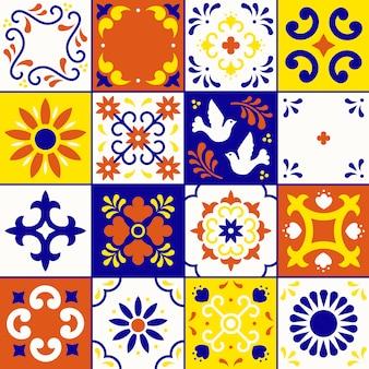 メキシコのタラベラパターン。プエブラの伝統的なスタイルの装飾品を並べてください。メキシコ花モザイク