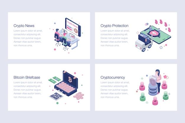 暗号通貨、ビットコイン、ブロックチェーンのベクトルイラスト