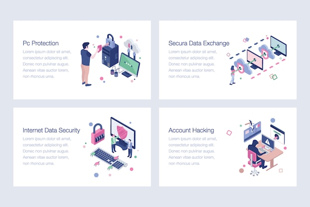 Набор иллюстраций кибербезопасности