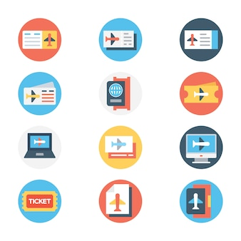 Аэропорт круглые цветные иконки набор