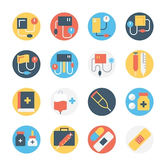 Набор медицинских круглых цветных иконок