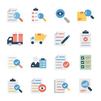 調査および配信フラットベクターパック