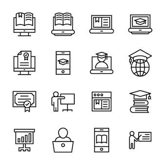 Пакет иконок линии электронного обучения