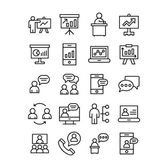 Набор иконок бизнес диаграммы линии