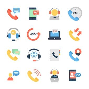 Онлайн поддержка клиентов плоские иконки