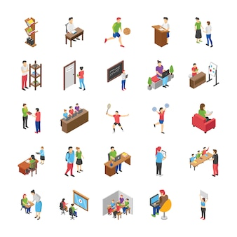 Набор плоских иконок студентов колледжа и университета
