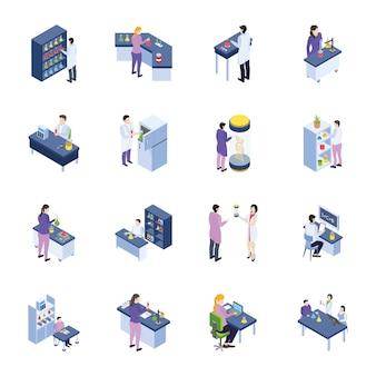 Научно-исследовательская лаборатория изометрические иконки