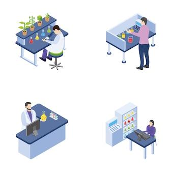 Научная лаборатория эксперименты изометрические иконки