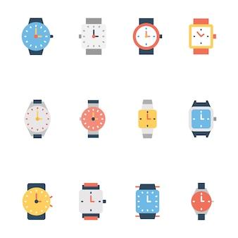 Набор иконок линии наручных часов