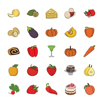 Набор рисованной иконки еды