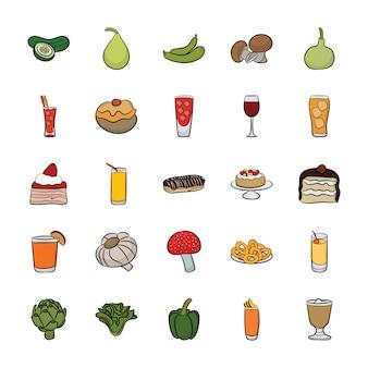 手描きの食べ物アイコンベクトルのセット