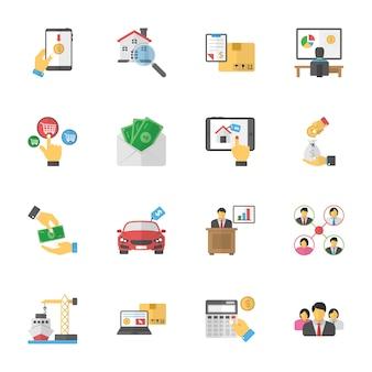 Бизнес планы плоские иконки