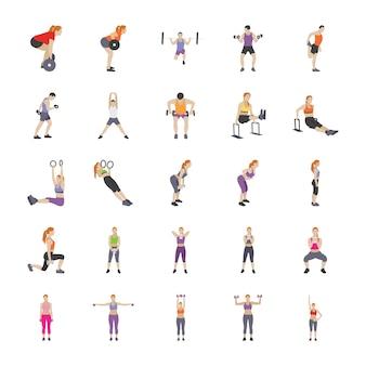 Упражнения инструменты и позы плоские иконки