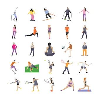 Зимние виды спорта плоские иконки