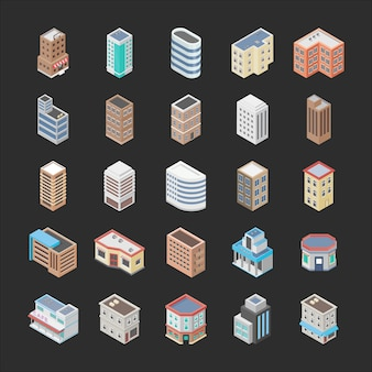 Набор иконок зданий