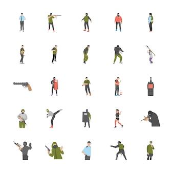 Антитеррористические плоские иконки