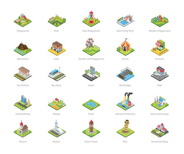 Детская площадка плоские иконки