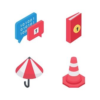 Набор элементов безопасности изометрические иконы