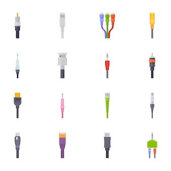 Кабельные соединения и провода плоские иконки