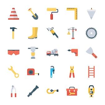 Строительные инструменты плоские значки