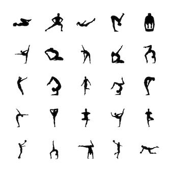 Пакет векторы силуэты физической деятельности