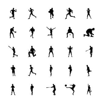 Пакет фитнес-упражнения силуэты векторов