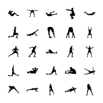 Набор векторных силуэтов тела упражнения