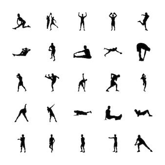 Пакет спортивных силуэтов иконок