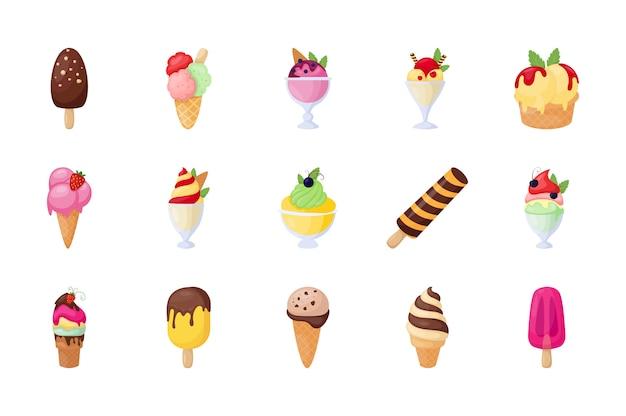アイスクリームフラットベクトルアイコンのセット