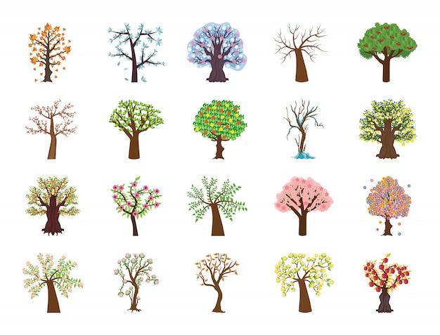 Набор из четырех сезонных деревьев плоских векторных иконок