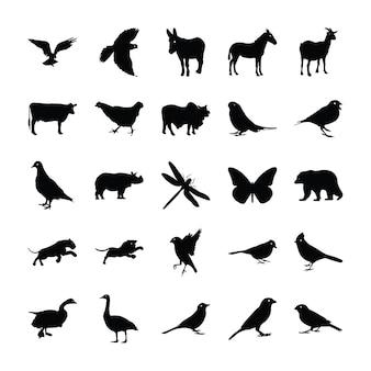 Животные силуэт пиктограммы