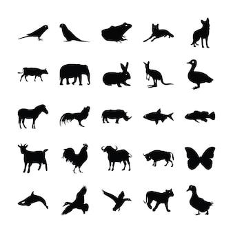 Заполненный дизайн иконок животных