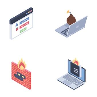 インターネットセキュリティのアイコンのコレクション
